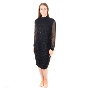 VINTAGE KATHRYN CONOVER Couture Beaded Dress Midi